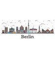 outline berlin germany city skyline with color vector image vector image