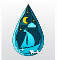 paper art seascape with moon sea waves boat vector image vector image