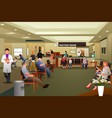 patients waiting in a hospital waiting room vector image vector image