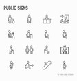 public signs thin line icons set vector image vector image
