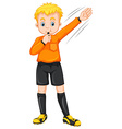 Referee blowing whistle and making gesture vector image