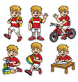 school boy set in various poses and activities vector image