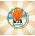Sea shell on the shore vector image vector image