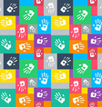 Seamless background with squares and hands vector image vector image