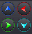 set black buttons with colored direction arrows vector image vector image