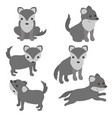 set of cute wolves set of cute wolves vector image vector image