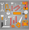 set of hand tools on a gray background with shadow vector image vector image