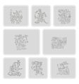 set of monochrome icons with symbols from Aztec co vector image vector image