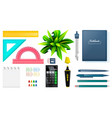 set of stationery objects school and office tools vector image