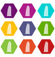 skyscraper icon set color hexahedron vector image