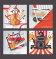 square cards dedicated to live music instruments vector image vector image