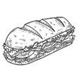 submarine sandwich in engraving style design vector image