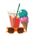 summer ice cream juice cup and sunglasses cartoon vector image vector image
