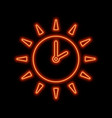 sun with clock arrows neon sign bright glowing vector image