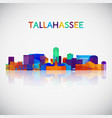 tallahassee skyline silhouette in colorful vector image vector image