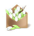 tulips of white color in the paper envelope with vector image