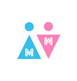 two icons with letters male and female gender vector image vector image