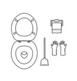 wc icon settoilet bowlpaperbrush or plunger and vector image vector image