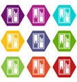 window cleaning icon set color hexahedron vector image vector image