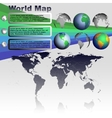 World map on gray background vector image vector image