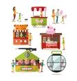 set of amusement park design elements in vector image