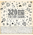 320 doodle icons universal set vector | Price: 3 Credits (USD $3)
