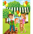 A happy family celebrating outside the house vector image vector image