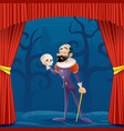 actor man medieval suit tragic theater curtains vector image vector image