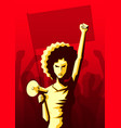 angry woman with afro hairstyle and loudspeaker vector image