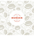 burger label and frame with pattern vector image vector image