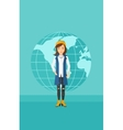 Business woman standing on globe background vector image
