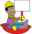 cartoon african american boy sitting in a sled vector image vector image