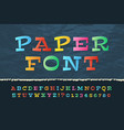 color paper alphabet funny cartoon holiday font vector image vector image