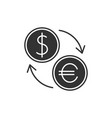 currency exchange black icon vector image vector image