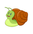 cute cartoon snail isolated on white background vector image vector image