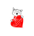 cute cat with red heart for gift hand drawn in vector image
