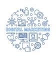 digital marketing round concept outline vector image