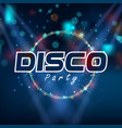 disco party circle frame blue background im vector image