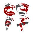 dragon king basket shield pencil logo mascot set vector image vector image