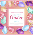 easter eggs around square with inscription vector image vector image