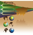 Eurasia map on brown background vector image