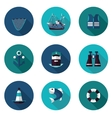 flat icons set of industrial fishing vector image vector image