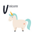 funny image unicorn and letter u zoo alphabet vector image