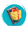 giftbox with bow mobile phone win present cartoon vector image