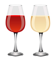 Glasses of red and white wine vector image vector image