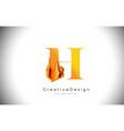 h orange letter design brush paint stroke gold vector image vector image