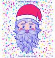 hand drawn head santa claus vector image vector image