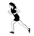 hand drawn running girl made in realistic vector image