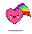 heart cartoon character icon kawaii with rainbow vector image vector image