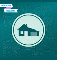 house with garage icon on a green background vector image